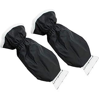com-four® 2 Eiskratzer aus stabilem Kunststoff mit gefüttertem Handschuh, etwa 23 x 11 cm (02 Stück - schwarz mit Handschuh)