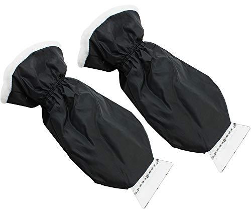 com-four® 2 Eiskratzer aus stabilem Kunststoff mit gefüttertem Handschuh, etwa 23 x 11 cm (02 Stück - schwarz mit Handschuh) -