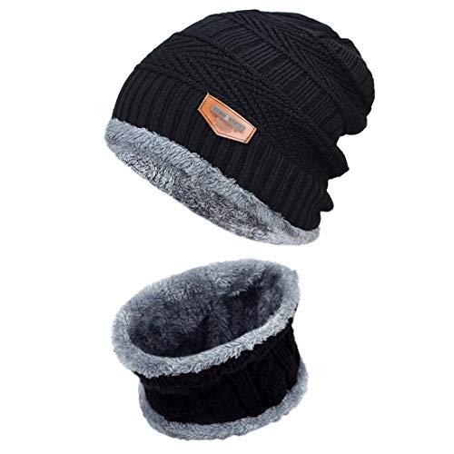 Herren Winter Beanie Mütze mit Loop Schal Geschenk Set, 2 in1 Strickmütze Wintermütze Warmer Beanie Schnappi (Black) - Schal-geschenk-set