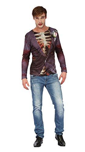 5 Zombie Bräutigam Hemd, Schwarz, UK 42-44 ()