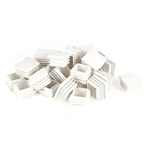 sourcingmap® Plastic Square Pipe End Caps Tubing Insert Plugs 30x30mm