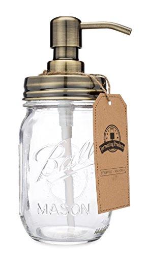 jarmazing Produkte Classic Farmhouse Mason Jar Seifenspender-Messing-mit 16Unze Ball Mason Jar -
