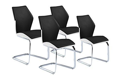 Homexperts Schwingstuhl 4-er Set SNAP / 4x Freischwinger in modernem Design / Bezug in Schwarz - seitliche Applikation Weiß / Gestell verchromt / 61 x 45 x 90 cm (T x B x H)