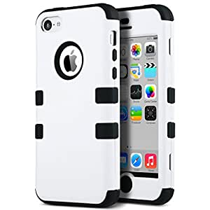 iPhone 5c Case - ULAK Colorful Hybrid Hard Case Cover For Apple iPhone 5C with Clear Screen Protector and Stylus(White + Black)