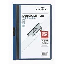 Durable 222707 - Duraclip 30, Cartellina con Clip per Archiviare Documenti, Capacità 1 - 30 Fogli, Formato A4, Confezione da 5 Pezzi, Blu