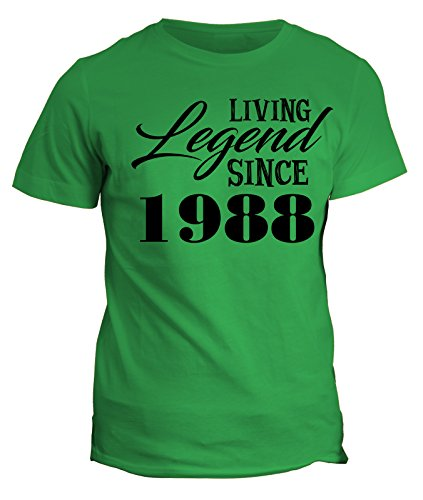 Tshirt Living legend since 1988 - idea regalo - happy birthday - in cotone by Fashwork Verde