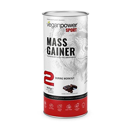 veganpower MASS GAINER - veganer Shake aus Kohlehydraten und Proteinen (Erbsen) zum Masse und Muskel-Aufbau mit Schokoladen Geschmack als Shake, 100% natürlich, 900g - Natürliche Gainer