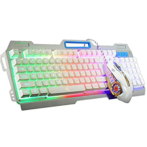 Gaming Tastatur, Gaming Keyboard Neue K38 104 Tasten LED Backlit Usb Ergonomische Gaming Keyboard + 3200dpi Gamer Maus (Weiß)