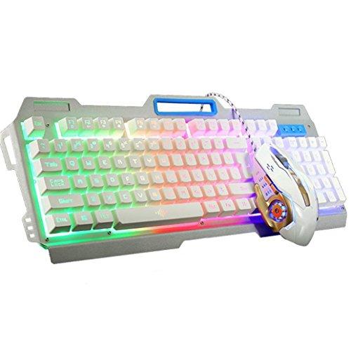 Preisvergleich Produktbild Lanspo Gaming Tastatur,  Gaming Keyboard Neue K38 104 Tasten LED Backlit USB Ergonomische Gaming Keyboard + 3200dpi Gamer Maus (Weiß)