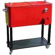 Leco 33700104 - Carritos de comida nevera portátil retro, rojo