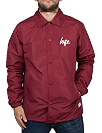 Hype Homme Script Logo Button Coach Jacket, Rouge