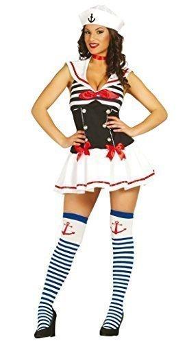 Damen Weiß Rot Blau Sexy Marine Matrose Henne DO Militär Militär Halloween Kostüm Kleid Outfit - Multi, Multi, 12-14 (Matrose Halloween Hut)