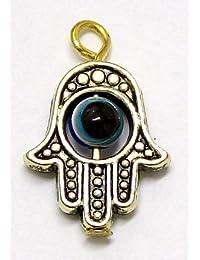 Vintage Hamsa Evil Eye Gold Pendant X 2 Hand Of Fatima Charm Amulet