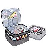 Luxja Nagellack Aufbewahrung Tasche, Nagellack Box, Aufbewahrung für Nagellack-Hält 30 Flaschen (15ml - 0,5 FL.oz), Doppelschicht Aufbewahrungstasche für Nagellacke und Maniküre, Grau