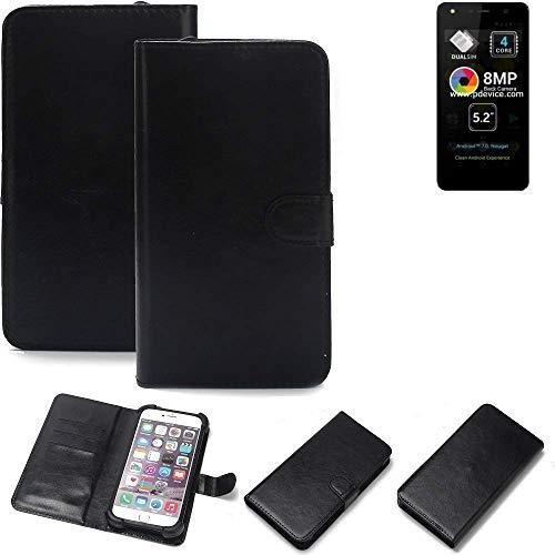 K-S-Trade® 360° Wallet Case Handyhülle Für Allview A9 Lite Schutz Hülle Smartphone Flip Cover Flipstyle Tasche Schutzhülle Flipcover Slim Bumper Schwarz, 1x