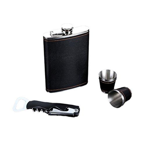 bestonzon PU Leder Flachmann Multifunktions Flaschenöffner Korkenzieher Tassen Set mit Box für Whisky Rum Scotch Wodka