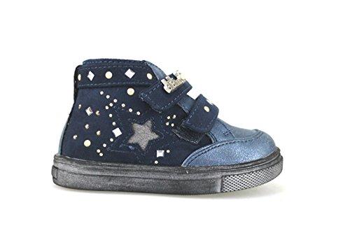 DIDI BLU sneakers bambina con velcro blu camoscio AJ957 (20 EU)