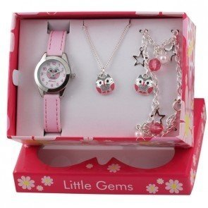 Ravel Little Gems Olly Owl Children's Quartz Watch with White Dial Analogue Display and Pink Plastic Strap R2225
