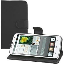 kwmobile Elegante funda de cuero sintético para el Huawei Ascend G730 con cierre magnético y función de soporte en negro