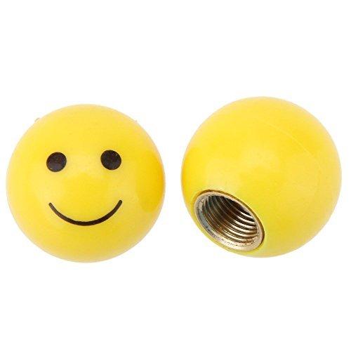 SODIAL(R) 2pzs Vastago Tapa de polvo de valvula de aire de llanta de rueda del neumatico Cubierta del puerto de valvula Schrader de automovil MTB Globo ocular Cara sonriente estilo americano