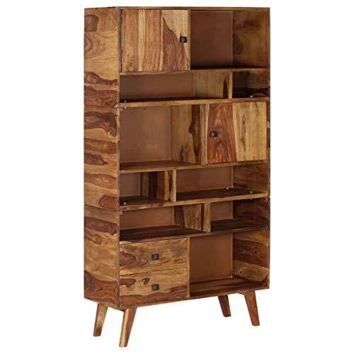 Tidyard Highboard Massivholz Sheesham 90 x 35 x 170 cm Möbel Schränke Buffets & Sideboards -