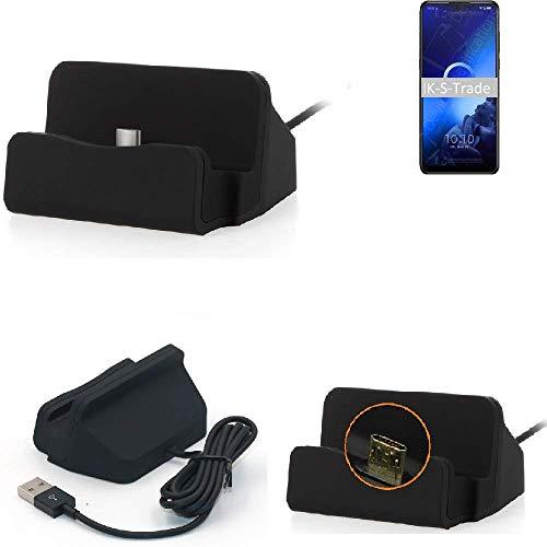 K-S-Trade® Dockingstation Für -Alcatel 3X (2019)- Docking Station Micro USB Tisch Lade Dock Ladegerät Charger Inkl. Kabel Zum Laden Und Synchronisieren, Schwarz