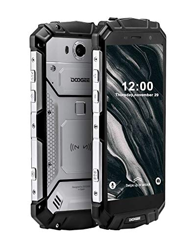 Robuster Outdoor Handy Entsperrt, DOOGEE S60 Lite Wasserdicht Smartphone 4G, 4+32GB Dual SIM Freie Android 8.1 Mobil Telefon, 5,2-Zoll-FHD Handy, Kameras 16+8.0MP, 5580mAh/NFC/Gesicht ID/GPS, Silber