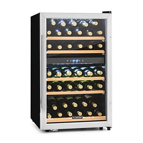 Klarstein Vinamour 40D - Cave à vin, 135L, 2 zones de refroidissement, Commande tactile, Ecran LCD, 41 bouteilles, noir/argent