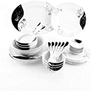 Royalford Melamine 35 pcs Melamine Ware Dinner Set, White, RF6972