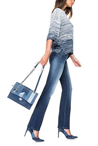 Salsa - Jersey de coton bicolor, bleu et blanc - Femme Bleu