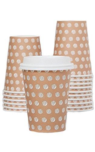 eg Papier Kaffeetassen von Little Bohnen-12Oz isoliert Hot Cup To Go-Menge 100Tassen & 100sicheren Deckel-Beste Qualität garantiert-Ideal für Tee, Cappuccino oder Latte ()