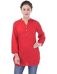 Mystique India Red Plain Viscose Short Kurti For Women