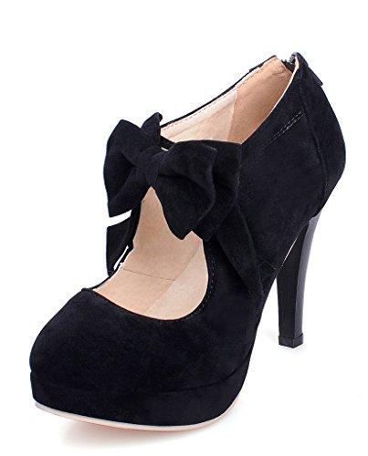 Minetom Damen Schuhe Jahrgang Bowknot Pumps High Heels Schuhe Reißverschluss Mary Jane Stiletto Hochzeit Pumps Schwarz EU (Jane Rosa Glitter Mary Schuhe)
