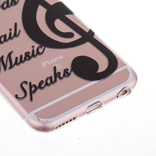 iPhone 6S Hülle,iPhone 6 Hülle,iPhone 6S / 6 Hülle,ikasus® TPU Silikon Schutzhülle Case Hülle für iPhone 6S / 6,Durchsichtig mit Schwarz Gemalte Muster Handyhülle iPhone 6S / 6 Silikon Hülle [Kristall Schwarz Music Notes.