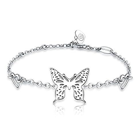 BlingGem Schmetterling Armband -925 Sterling Silber Charme -Weißes Gold überzogene Kette- Mode Schmuck für Damen