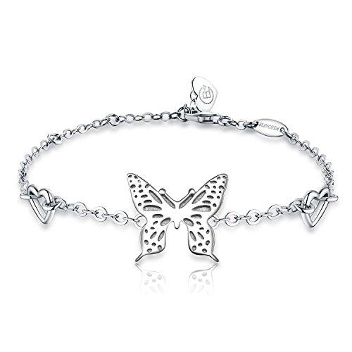 BlingGem Schmetterling Armband -925 Sterling Silber Charme -Weißes Gold  überzogene Kette- Mode Schmuck 22797b2d0f