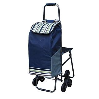 A&DW Zusammenklappbarer Einkaufswagen auf 6 Rädern, Maximallast 100 kg, wasserdichter Einkaufstreppen-Kletterwagen aus Oxford-Stoff,Blue