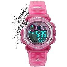 168b80d3e3da etows® Impermeable Luces relojes Flash 50 m cronógrafo Digital niños niñas  reloj de pulsera deportivo