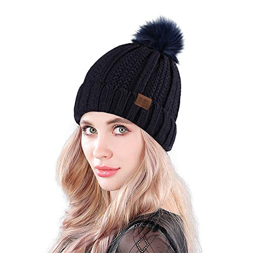 MUCO WinterMütze Damen Mann Winter Hut Stricken Klobig Faux Pelz Warm Linling Pom Poms Hut Bommel Hut Ski Mütze