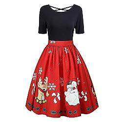 VEMOW Herbst Mode Elegant Damen Abendkleid Frauen V-Ausschnitt Bänder Frohe Weihnachten Weihnachtsmann Print Party Dating Midi Kleid(X5-Schwarz, 44 DE / 4XL CN)