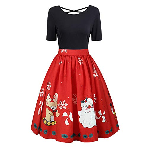Kleid Weihnachten,JiaMeng Mode Damen Vintage Frohe Weihnachten Print -
