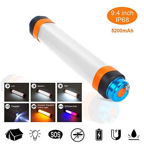 i-USB-Campinglaternen mit hängenden magnetischen Notfall-PAS-Leuchten, Moskito-Abwehrmittel, magnetisches Camp-Licht, wasserdichte Lampe mit 5200 mAh-Powerbank für Outdoor-Wandern ()