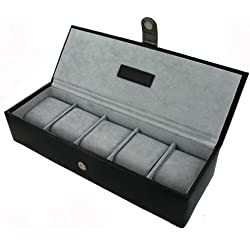 Watch Box (JB21) - Gent's Leather Watch Holder - Black - Holds 5 Watches