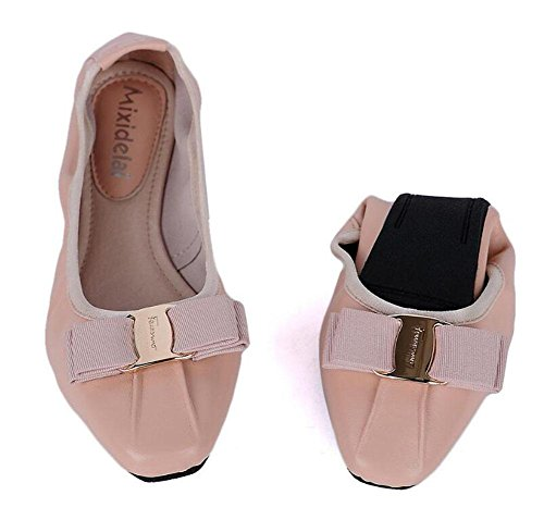 SHINIK Frauen 's Fold Up Ballett Pumps Leder Ei Rolls Frauen' s Shallow Side Square Schuhe Korean Version der Bow Dance Dancing Schuhe Pink