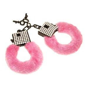 Pink Furry Handcuffs with Diamante Details (accesorio de disfraz)