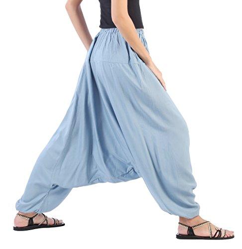 CandyHusky Damen Hose, Einfarbig Weiß weiß One size Blau-Grau