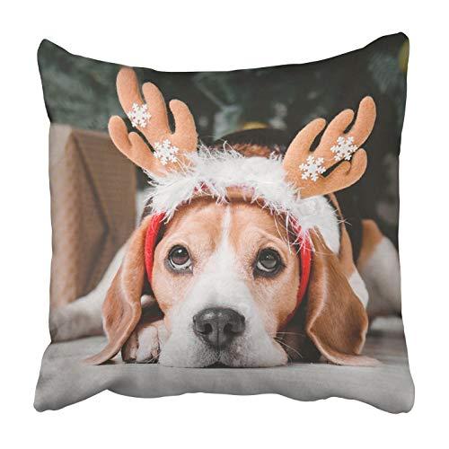 Quadratischer Überwurf Taille Kissenbezug 45,7 x 45,7 cm Dekorative Kissenbezüge Schöne Beagle Hund als Rentier Überwurf Kissenbezug mit verstecktem Reißverschluss für Schlafzimmer Decor Sofa Couch