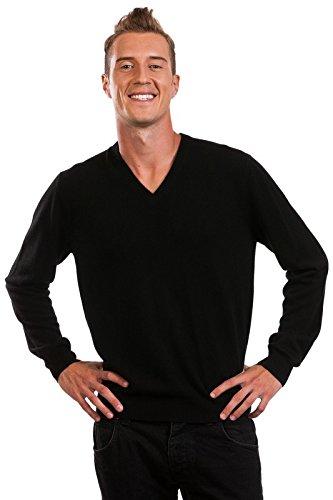 Pullover Herren - 100% Kaschmir - von Citizen Cashmere (XL Schwarz) 42 100-02-04
