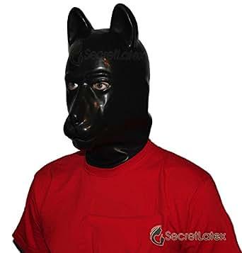 Latex gomme noire en caoutchouc chiot pleine tête capot Masque Homme Femme Homme Femme Doll Animal animal fétiche