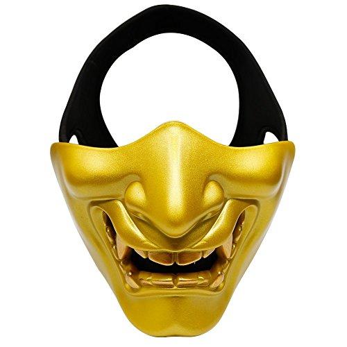 Airsoft Taktisch Maske Hälfte Gesichts maske für Softair Paintball BB Gun CS Jagd Schießen, ideal Maske für Halloween, Cosplay, Kostüm Party und Filmstütze (Paintball Guns Gold)